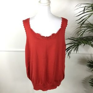 NEW Lane Bryant Red Crochet Tank Womens 22/24